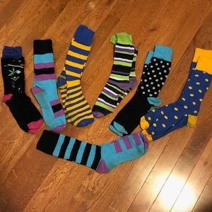 Other - 7 Pairs of Vibrant Colored Men's Dress Socks.